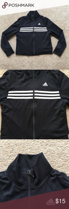 Adidas Zip up Track Jacket Adidas zip up jacket with pockets; worn a few times. Kids size in XL. Will fit women from XS to M! Adidas Tops Sweatshirts & Hoodies