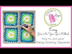 (44) CROCHET How to Join Your Daisy Granny Squares: Easy Join As You Go Method - YouTube