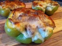 Philly Cheesesteak Stuffed Peppers 8 oz Thinly Sliced Roast Beef 8 slices Provolone Cheese 2 large Green Bell Peppers 1 Medium Sweet Onion 6 oz Baby Bella Mushrooms 2 Tbs Butter 2 Tbs Olive Oil 1 Tbs Garlic - Minced Salt & Pepper - to taste Beef Recipes, Low Carb Recipes, Cooking Recipes, Healthy Recipes, Pepper Recipes, Recipies, Healthy Food, Healthy Steak, Eating Healthy