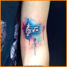 Watercolor tattoo of a clef and two notes (.- Watercolor tattoo of a clef and two notes (g and h) - Aquarell Tattoo Musik, Aquarell Tattoos, Music Lover Tattoo, Music Tattoos, Small Butterfly Tattoo, Butterfly Tattoo Designs, Music Tattoo Designs, Tattoo Designs For Girls, Diy Tattoo