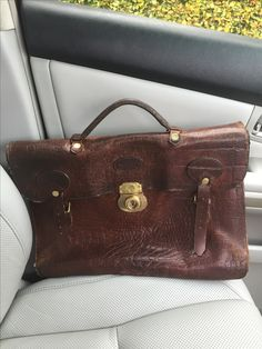 Mulberry conker briefcase vintage
