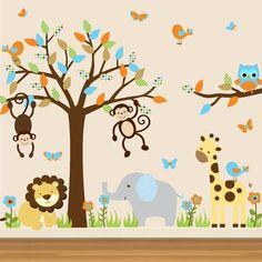 50 ideias de pintura para fazer na parede do quarto dos pequenos Jungle Baby Room, Jungle Nursery, Nursery Room, Girl Nursery, Baby Bedroom, Baby Boy Rooms, Baby Boy Nurseries, Nursery Themes, Nursery Decor