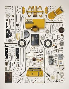 "cjwho: "" Things Come Apart - A Teardown Manual for Modern Living by Todd McLellan ""Things Come Apart is an expansion of the original Disassembly Series. This new set of images explores retro to modern daily items that have, are, or will be in our. Take Apart, Pull Apart, Tool Design, Design Process, Design Design, Graphic Design, Things Organized Neatly, Coming Apart, Art Graphique"