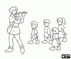 Colorear Los niños siguen al flautista