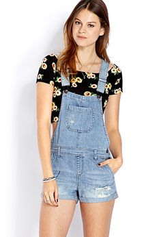Blue Jeans Babe Overall Shorts   FOREVER 21 - 2000106660