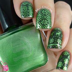 Ugly Green Xmas Sweater #greennails #nailart - bellashoot.com