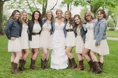 Bride and Bridesmaids In Jean Jackets