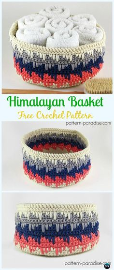 Crochet Himalayan Basket Free Pattern - Crochet Storage Basket Free Patterns