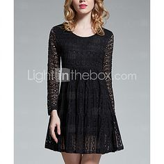 Women's Casual/Daily Simple Loose Dress,Solid Round Neck Above Knee Long Sleeve Black / Purple Cotton - USD $17.99 ! HOT Product! A hot product at an incredible low price is now on sale! Come check it out along with other items like this. Get great discounts, earn Rewards and much more each time you shop with us!