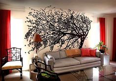 I have always loved this tree mural, how cool would it be to have a tree in your own living room!!  I really wish I had the wall space, and the courage.