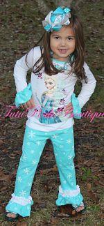 Pants Set Ruffle Cuff Ruffle Pants & Ruffle Sleeve Top Set Frozen Inspired Snowflake