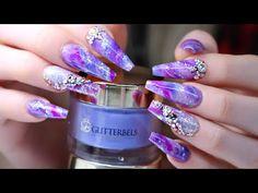 Marble Nail Design with Water & Nail Polish 2 Black Marble Nails, Water Marble Nails, Water Nails, Marble Nail Art, Purple Marble, Purple Glitter, Marble Nail Designs, Colorful Nail Designs, Nail Art Designs