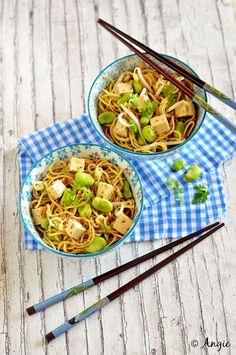 Salade de nouilles asiatiques aux fèves: photo de la recette
