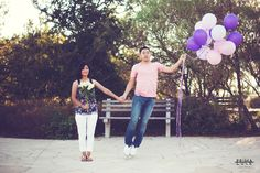Engagement Photo   Austin, Texas   Balloons   Couple   Flying   Photo by Prima Luce Studio
