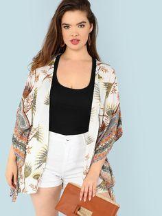 d38df90333b Plus Open Front Tassel Trim Kimono -SheIn(Sheinside)