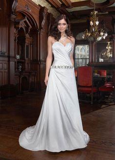 Gorgeous sleeveless A-line floor-length wedding dress