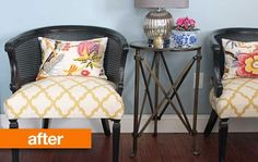 Before & After: Maria's Craigslist Cane Chair Makeover.  But, not black.  Maybe white or leave it natural...