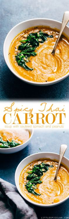Spicy Thai Carrot Soup - a warm and cozy bowl of soup loaded with lots of veggies and is completely vegan friendly and dairy-free! #vegan #dairyfree #carrotsoup #thaicarrotsoup | Littlespicejar.comhealthy