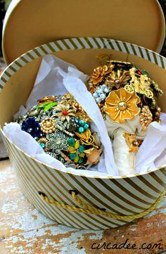 vintage hat box - vintage brooch bouquets