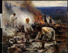 Eero Järnefelt, Kaski/Raatajat rahanalaiset (Burning the Brushwood/Under the Yoke), oil on canvas Ateneum Art Museum, Helsinki, Finland. National romantic art but considered realism art by public.