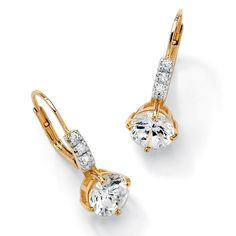 3 1/8 TCW Round Cubic Zirconia 18k Gold over Sterling Silver Lever-Back Drop Earrings