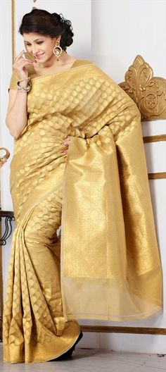 136857, Party Wear Sarees, Silk, Banarasi, Thread, Gold Color Family