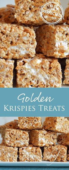 Chewy, Gooey Golden Rice Krispie Treats Chewy, Gooey Golden Rice Krispies Treats – these give the BEST Ever Rice Krispie Treats a run for their money! Delicious and decadent with browned butter! Easy Desserts, Delicious Desserts, Dessert Recipes, Rice Recipes, Bar Recipes, Popcorn Recipes, Fudge Recipes, Candy Recipes, Yummy Food