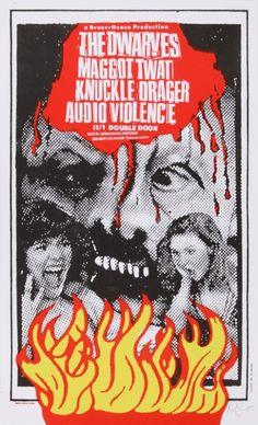 Art Chantry gig poster: The Dwarves, Maggot Twat, Knuckle Drager