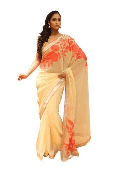 EMBELISHED VISCOSE SAREE WITH HEAVY CUT WORK BORDER