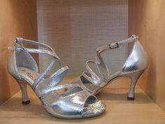 Item Elena, Sole Vero Cuoio, Materials minilizard, Glitter fabric, Toe Open, Back Closed, Color Silver, Heel Shape Flared
