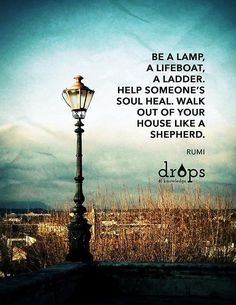 Be a lamp, a lifeboat, a ladder, help someone´s soul heal, walk out of your house like a sheperd.