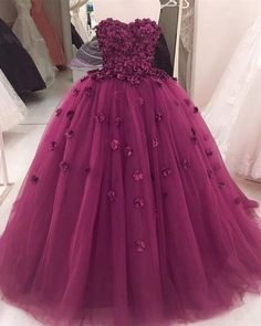 Gorgeous Flowers Sweetheart Tulle Ball Gowns Quinceanera Dresses 2018 09c8d97e6432
