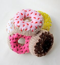 Love these doughnut (or donut, depending on which part of the world you're in) earrings. For doughnut lovers, and admirers of kitsch jewellery - they're hand knitted by Spilth Design.