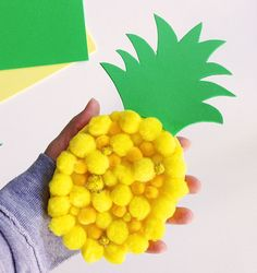 The kids will enjoy making this colourful pom pom pineapple craft decoration. Make several and string them up to make a pineapple garland. Luau Crafts, Fruit Crafts, Camping Crafts, Food Crafts, Preschool Crafts, Craft Activities, Hawaii Crafts, Easy Crafts, Fun Crafts For Kids