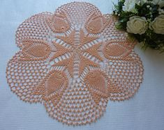 Crochet doily,lace doily,tulips,peach,large doily,crochet tablecloth,beautiful doily,floral doily,crochet lace,crochet doilies,nude doily
