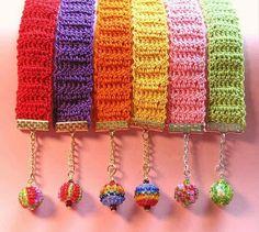 Pulseira larga em crochet - fazer num tom metalizado - do blogue GloriArts & Bijoux