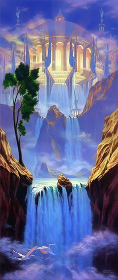"River of life--- Revelation And he showed me a pure river of water of life, clear as crystal, proceeding from the throne of God and the Lamb.""Zion"" by Jeff Haynie Fantasy Places, Fantasy World, Image Jesus, Revelation 22, Creation Art, Prophetic Art, Fantasy Kunst, Visionary Art, Fantasy Landscape"