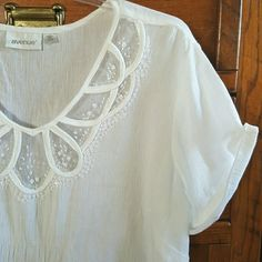 "Avenue || Top White. Short sleeve. Embellished neckline with sequins and net. 100% cotton. Semi sheer. Fabric has the Gauze look. Good pre-loved condition. Approx 30"" in length. 25.5"" bust. Size 18/20 Avenue Tops Tees - Short Sleeve"