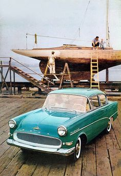 '57-'60 USA Opel Rekord | I spot a difference with European Opel Rekords: there are tiny round lights on both side sof the grille, next to the indicators. Parking lights I presume.  Opel USA publicity photos always show this colour, perhaps the only car they had for these purposes?