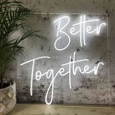 A wedding is a ceremony where two or more people are united in marriage. Custom Neon Signs, Led Neon Signs, Deco Led, Light Up Signs, Luz Led, Better Together, Neon Lighting, Flower Wall, Wedding Signs