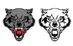 Two wolf in black or white and a colored one with aggressive facial expression in head shot layout. The sketchy detail wolf heads are facing in the front by ope Tattoo Graphic, Graphic Art, Free Vector Graphics, Vector Art, Angry Wolf, Tattoo Templates, Two Wolves, Wolf Illustration, Vector Free Download