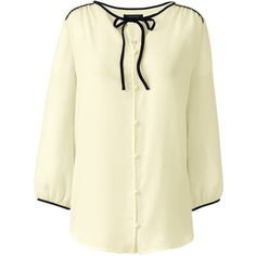Lands' End Women's Plus Size 3/4 Sleeve Contrast Binding Blouse (3.295 RUB) ❤ liked on Polyvore featuring tops, blouses, ivory, holiday blouses, special occasion blouses, beige blouse, evening tops and three quarter sleeve blouses