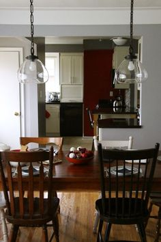 Vintage Dining Room Light Fixtures Ideas With Teak Wooden Set And Pendant Lamp