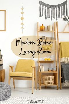 Modern Boho Living Room | Bohemian Decor |  Modern boho looks give you the creative freedom to add as much, or as little color as you want. Add jewel tones and statement pieces for an eclectic modern boho look, or dress it down with soft hues,  for a clean, monochromatic look.  Goldilocks Effect  #boho #boholivingroom #modernboho #yellowdecor #livingroom #moderndecor Bohemian Living Rooms, Diy Living Room Decor, Living Room Furniture Arrangement, Family Room Decorating, Living Room On A Budget, Cozy Living Rooms, Bohemian Decor, Decorating Your Home, Eclectic Modern