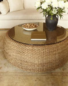 dois pneus+palha+vidro Driftwood Coffee Table by Ralph Lauren Home at Neiman Marcus. Accent Furniture, Diy Furniture, Recycled Furniture, Wicker Furniture, Furniture Design, Driftwood Coffee Table, Wicker Coffee Table, Small Coffee Table, Glass Top Coffee Table