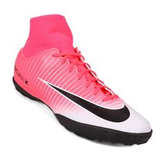 Botines Nike MercurialX Victory DF TF - Rosa+Blanco Nike, Victorious, Cleats, Fashion, Sports, Zapatos, Tennis, White People, Football Boots