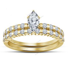 Marquise & Round D/VVS1 Diamond 3.26 CT 925 Silver Bridal Set In Classic Shank #aonejewels