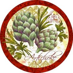 Veg Market Artichokes (Elena Valdykina) Plate Wall Decor, Plates On Wall, Decoupage Art, Kitchen Art, Craft Patterns, Vintage Pictures, Artichoke, Vintage Advertisements, Art Boards