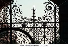 Close-up of a wrought iron gate, Paris, France.  Love the detail.