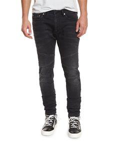 Skinny Moto Denim Jeans, Slate Gray - Neil Barrett